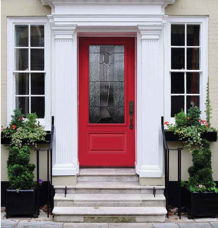 Orleans Novtech Steel Front Entry Door, Bright Red